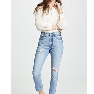 Levi's 501 Skinny Distressed Light Wash Jeans